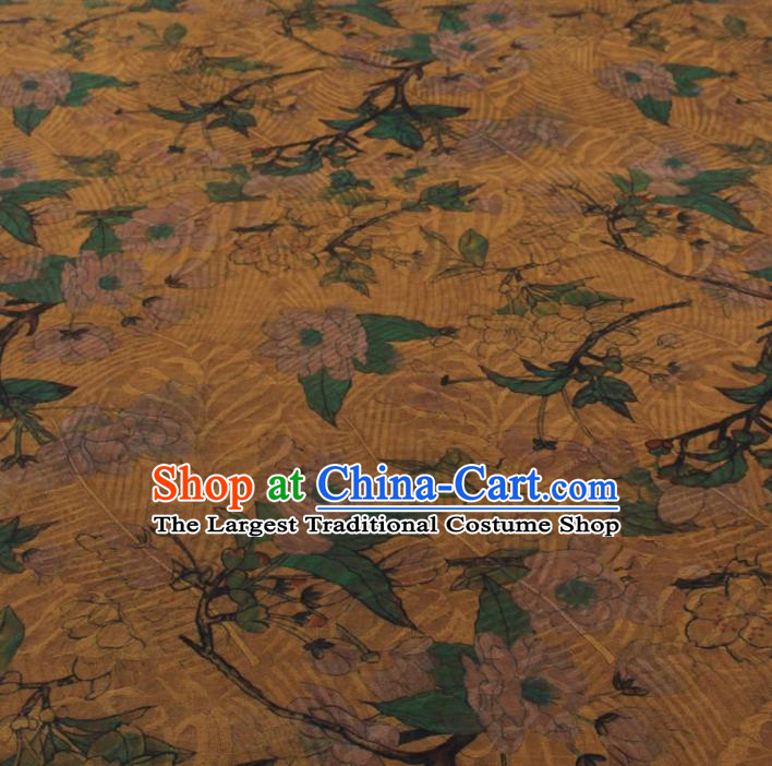 Traditional Chinese Classical Leaf Pattern Yellow Gambiered Guangdong Gauze Silk Fabric Ancient Hanfu Dress Silk Cloth