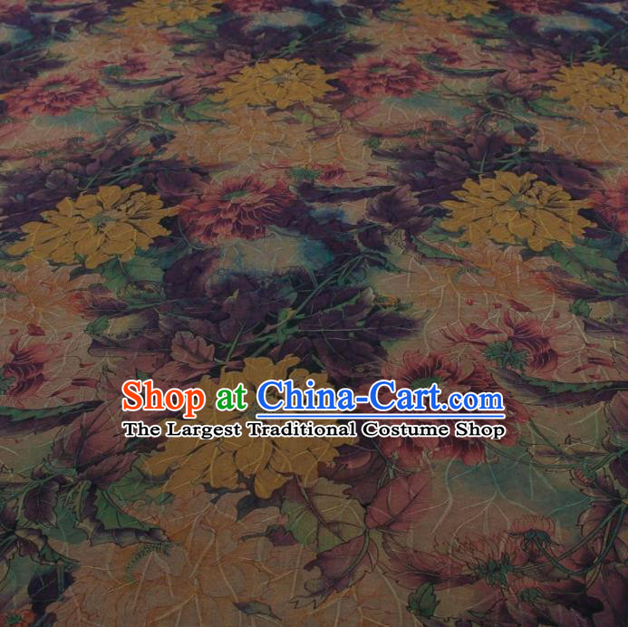 Traditional Chinese Classical Flowers Pattern Khaki Gambiered Guangdong Gauze Silk Fabric Ancient Hanfu Dress Silk Cloth