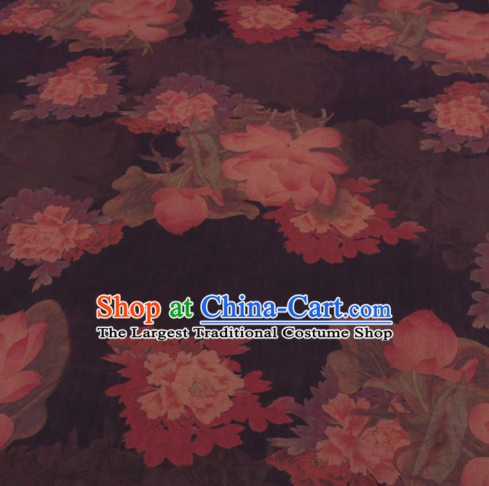 Traditional Chinese Classical Lotus Peony Pattern Deep Brown Gambiered Guangdong Gauze Silk Fabric Ancient Hanfu Dress Silk Cloth