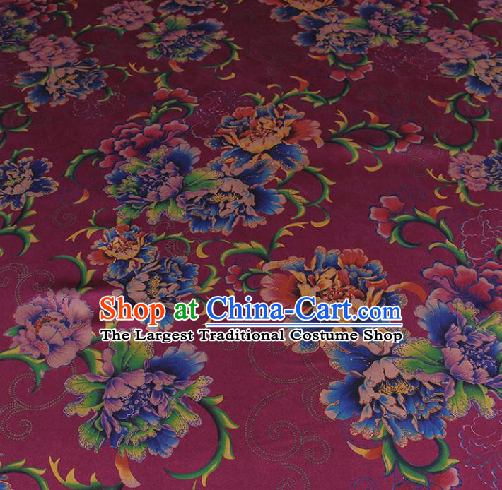 Traditional Chinese Classical Peony Pattern Deep Purple Gambiered Guangdong Gauze Silk Fabric Ancient Hanfu Dress Silk Cloth