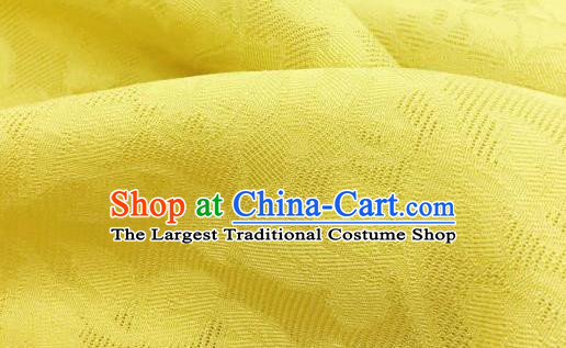 Traditional Chinese Classical Plum Blossom Pattern Yellow Silk Fabric Ancient Hanfu Dress Brocade Cloth