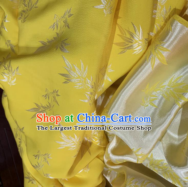 Chinese Classical Bamboo Leaf Pattern Yellow Silk Fabric Traditional Ancient Hanfu Dress Brocade Cloth