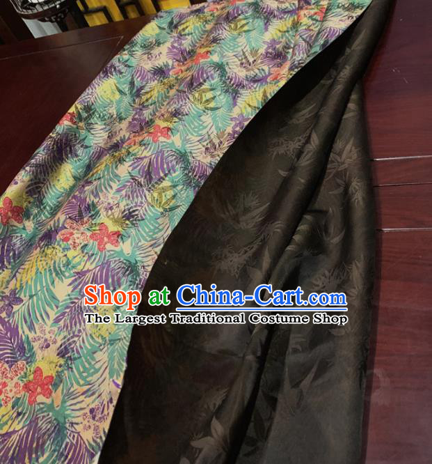 Chinese Classical Green Leaf Pattern Silk Fabric Traditional Ancient Hanfu Dress Brocade Cloth
