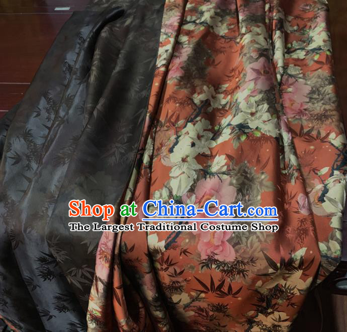Chinese Classical Magnolia Pattern Red Silk Fabric Traditional Ancient Hanfu Dress Brocade Cloth