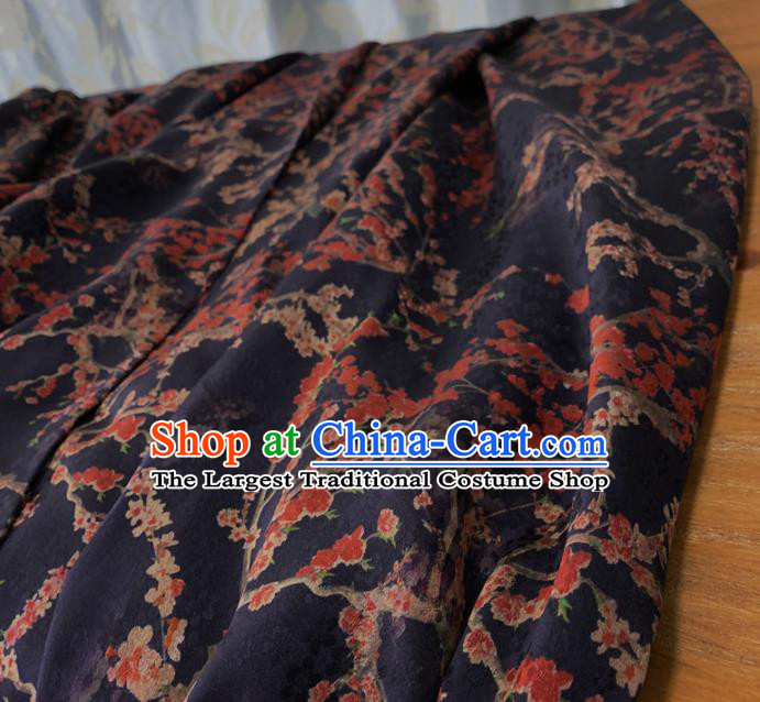 Chinese Classical Plum Pattern Navy Silk Fabric Traditional Ancient Hanfu Dress Brocade Cloth