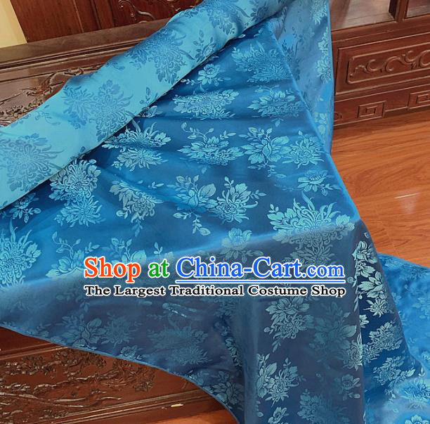 Chinese Classical Chrysanthemum Pattern Blue Silk Fabric Traditional Ancient Hanfu Dress Brocade Cloth