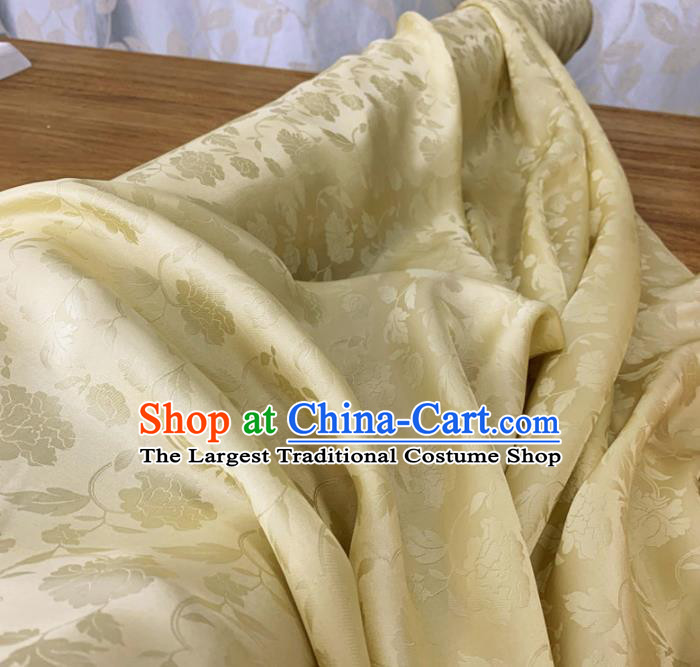 Chinese Classical Peony Pattern Light Yellow Silk Fabric Traditional Ancient Hanfu Dress Brocade Cloth
