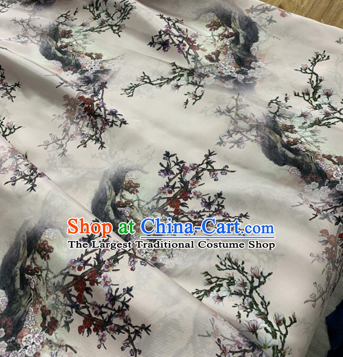 Chinese Classical Plum Blossom Pattern White Silk Fabric Traditional Ancient Hanfu Dress Brocade Cloth