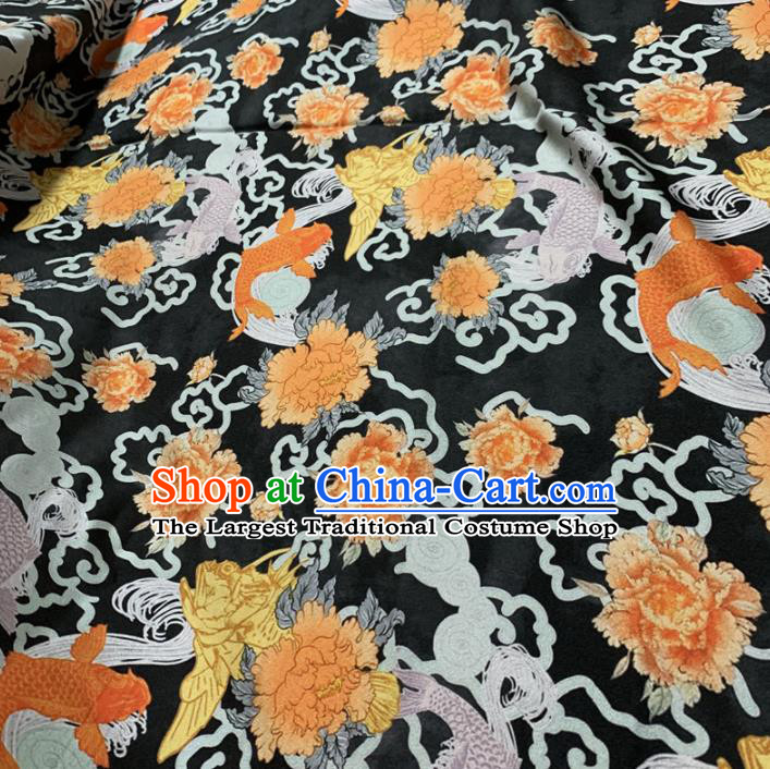 Chinese Classical Carp Peony Pattern Black Silk Fabric Traditional Ancient Hanfu Dress Brocade Cloth
