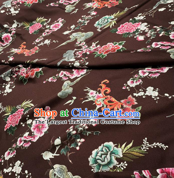 Chinese Classical Peony Pattern Deep Brown Silk Fabric Traditional Ancient Hanfu Dress Brocade Cloth