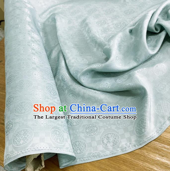 Chinese Classical Round Pattern Light Blue Silk Fabric Traditional Ancient Hanfu Dress Brocade Cloth