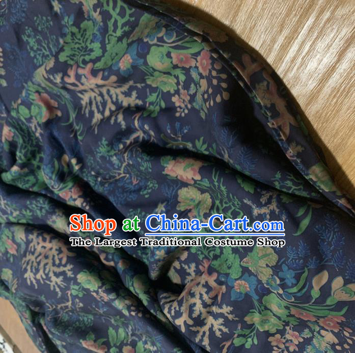 Chinese Classical Pattern Navy Silk Fabric Traditional Ancient Hanfu Dress Brocade Cloth