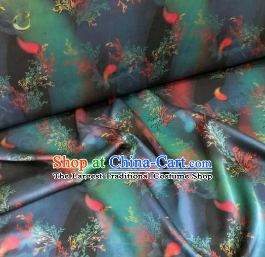 Traditional Chinese Classical Pattern Navy Blue Silk Fabric Ancient Hanfu Dress Brocade Cloth