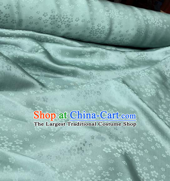 Chinese Classical Plum Pattern Light Green Silk Fabric Traditional Ancient Hanfu Dress Brocade Cloth