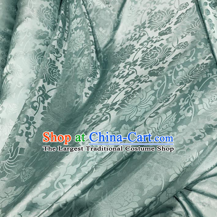 Chinese Classical Lotus Pattern Light Green Silk Fabric Traditional Ancient Hanfu Dress Brocade Cloth