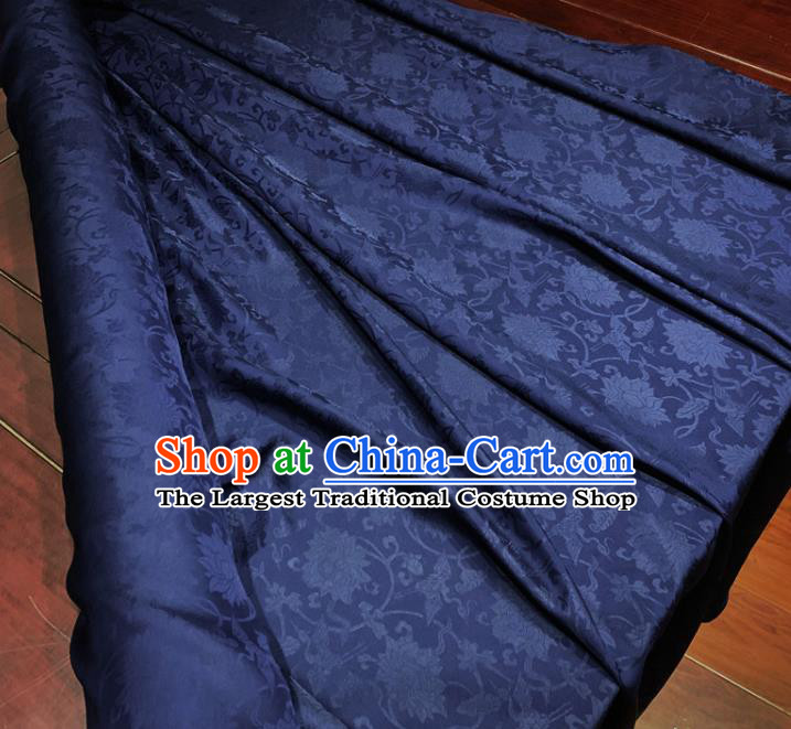 Chinese Classical Lotus Pattern Navy Blue Silk Fabric Traditional Ancient Hanfu Dress Brocade Cloth