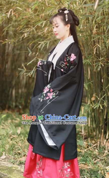 Traditional Chinese Ming Dynasty Royal Infanta Replica Costumes Ancient Court Princess Black Hanfu Dress for Women