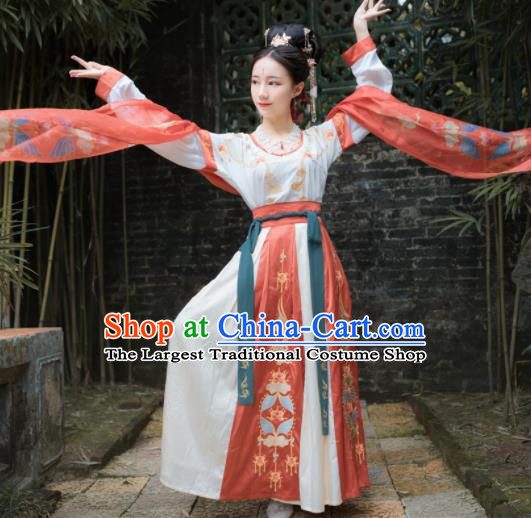 Traditional Chinese Tang Dynasty Flying Apsaras Replica Costumes Ancient Palace Dance Hanfu Dress for Women