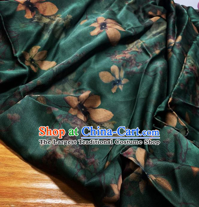 Chinese Classical Magnolia Pattern Dark Green Silk Fabric Traditional Ancient Hanfu Dress Brocade Cloth