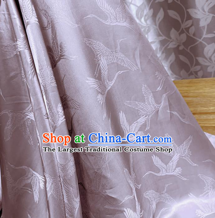 Chinese Classical Cranes Pattern Lilac Silk Fabric Traditional Ancient Hanfu Dress Brocade Cloth