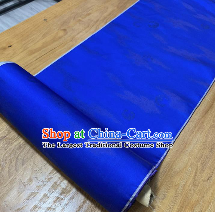 Chinese Classical Pattern Royalblue Silk Fabric Traditional Ancient Hanfu Dress Brocade Cloth