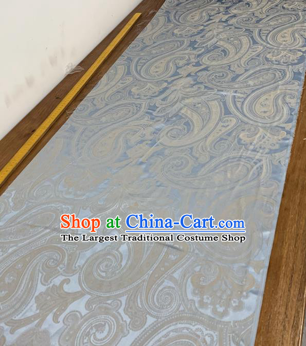 Chinese Classical Paisley Pattern Light Blue Silk Fabric Traditional Ancient Hanfu Dress Brocade Cloth