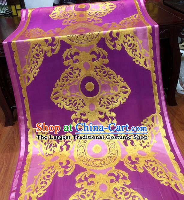 Chinese Classical Pattern Purple Silk Fabric Traditional Ancient Hanfu Dress Brocade Cloth