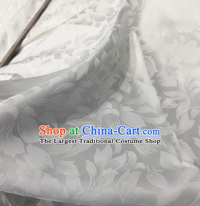 Chinese Classical Pattern White Silk Fabric Traditional Ancient Hanfu Dress Brocade Cloth