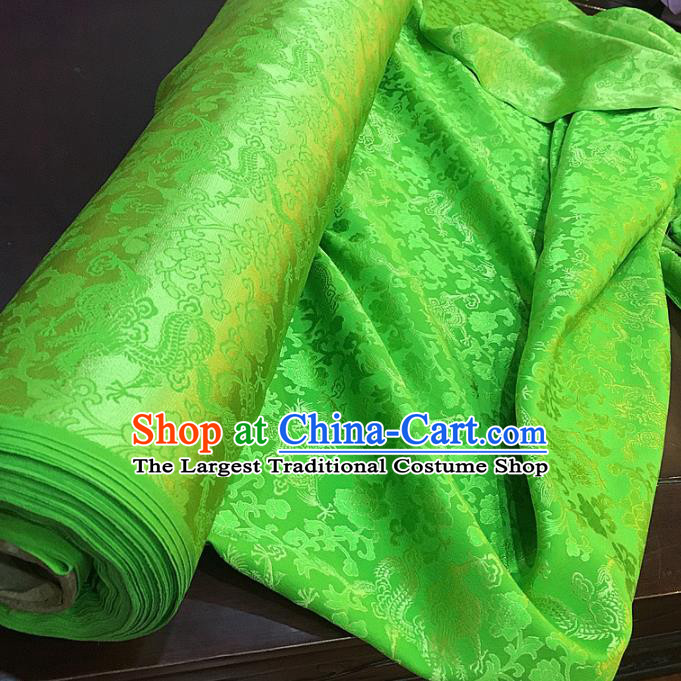 Chinese Classical Dragon Peony Pattern Green Silk Fabric Traditional Ancient Hanfu Dress Brocade Cloth