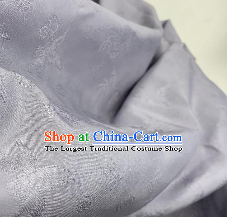 Chinese Classical Pattern Light Purple Silk Fabric Traditional Ancient Hanfu Dress Brocade Cloth