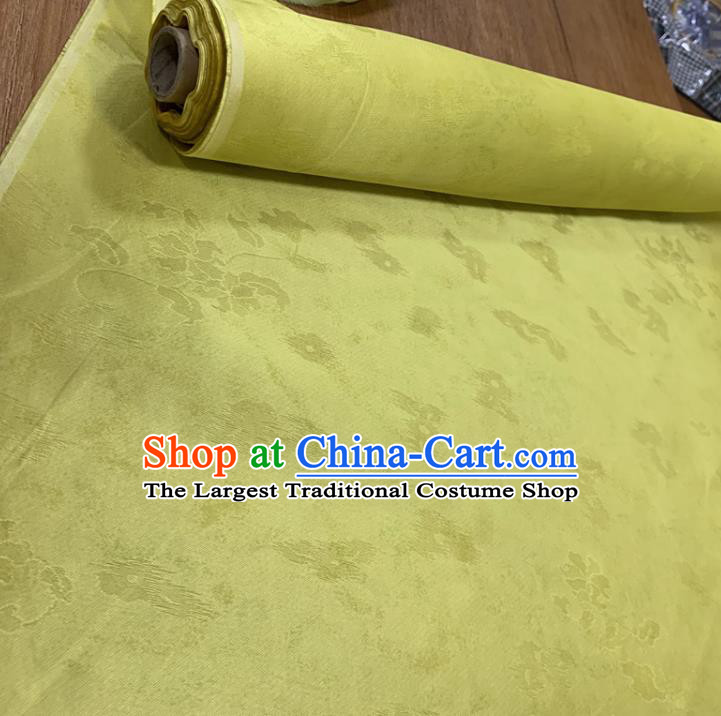 Chinese Classical Flowers Pattern Yellow Silk Fabric Traditional Ancient Hanfu Dress Brocade Cloth