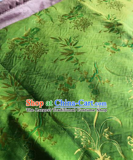 Chinese Classical Orchid Bamboo Plum Pattern Green Silk Fabric Traditional Ancient Hanfu Dress Brocade Cloth