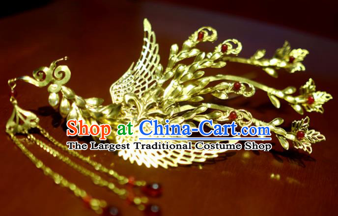 Chinese Traditional Ancient Court Queen Golden Tassel Phoenix Hairpins Classical Hanfu Hair Accessories for Women
