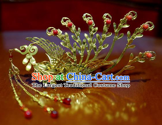 Chinese Traditional Ancient Court Queen Tassel Phoenix Hairpins Classical Hanfu Hair Accessories for Women