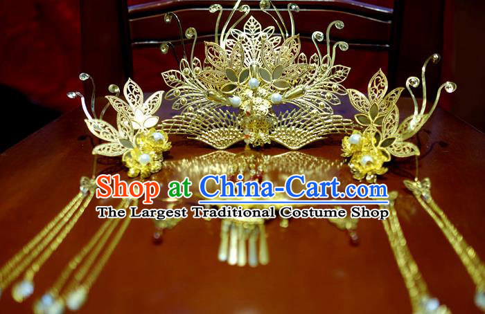 Chinese Traditional Ancient Court Queen Hair Comb Hairpins Classical Hanfu Hair Accessories Complete Set for Women