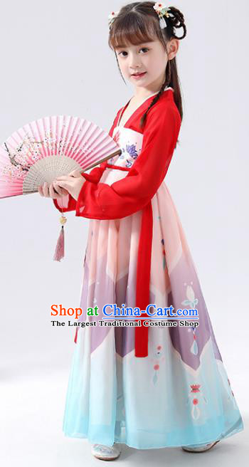 Chinese Traditional Tang Dynasty Girls Printing Hanfu Dress Ancient Princess Costume for Kids