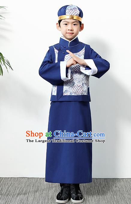 Chinese Traditional Qing Dynasty Boys Navy Clothing Ancient Manchu Prince Costume for Kids