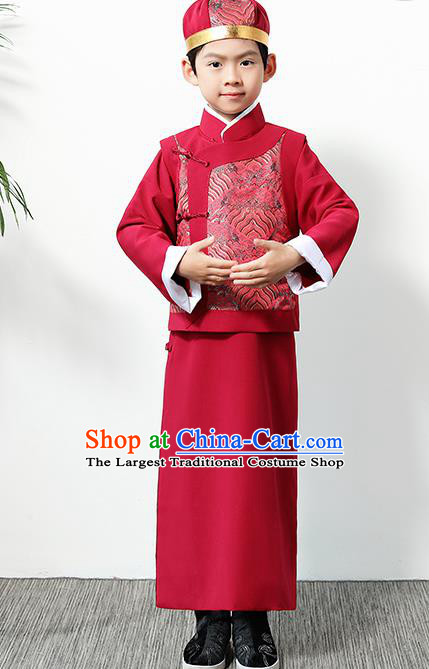 Chinese Traditional Qing Dynasty Boys Red Clothing Ancient Manchu Prince Costume for Kids