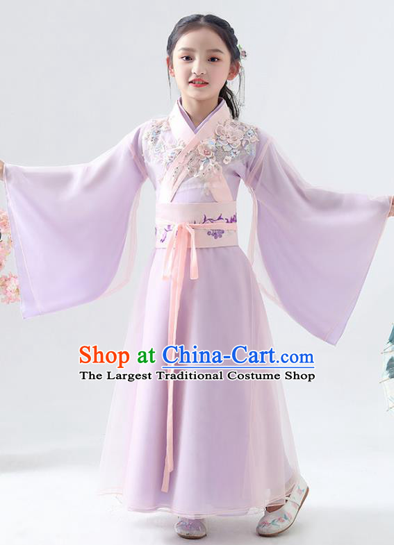 Chinese Traditional Jin Dynasty Girls Lilac Hanfu Dress Ancient Peri Princess Costume for Kids