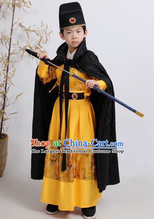 Chinese Traditional Ming Dynasty Imperial Guards Yellow Hanfu Clothing Ancient Boys Swordsman Costume for Kids