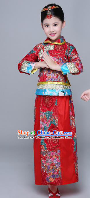Chinese Traditional Qing Dynasty Girls Wedding Dress Ancient Court Princess Costume for Kids