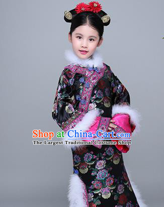 Chinese Traditional Qing Dynasty Princess Black Winter Dress Ancient Manchu Court Girl Costume for Kids