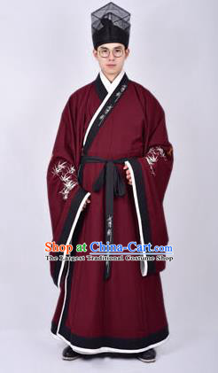 Chinese Traditional Ming Dynasty Taoist Priest Hanfu Wine Red Robe Ancient Scholar Costume for Men