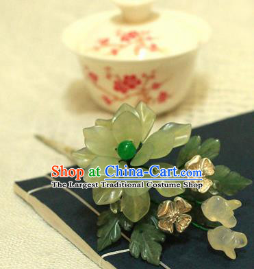 Chinese Ancient Court Queen Jade Lotus Hair Clip Hairpins Traditional Classical Hanfu Hair Accessories for Women