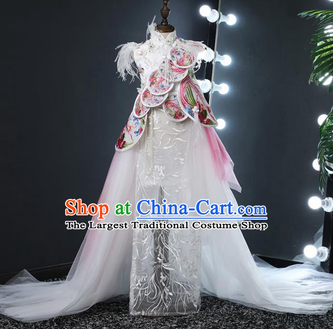 Top Grade Children Day Dance Performance White Dress Chinese Kindergarten Girl Stage Show Costume for Kids