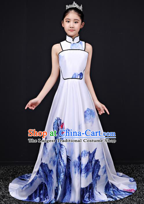 Top Grade Children Day Dance Performance Printing Qipao Dress Kindergarten Girl Stage Show Costume for Kids