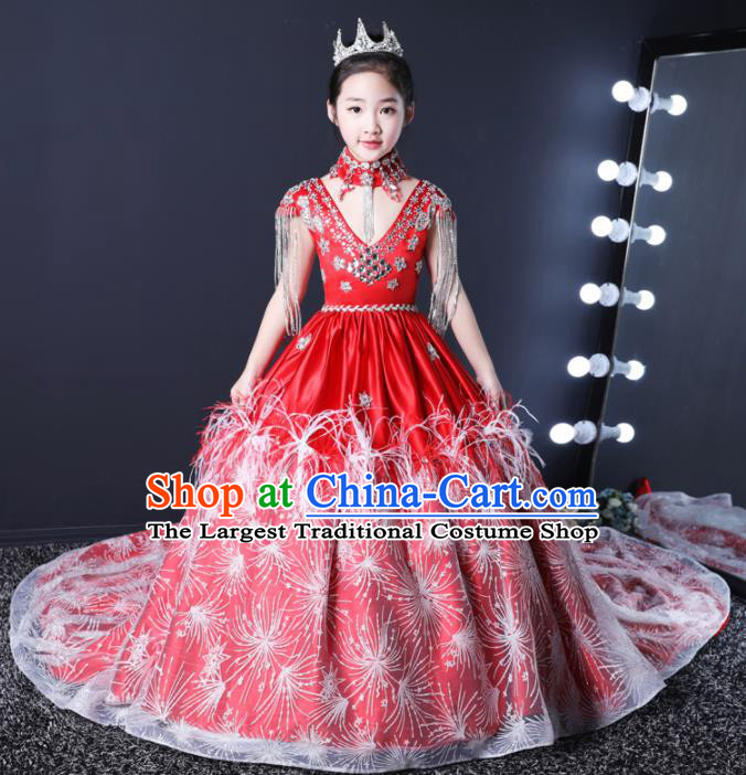 Top Grade Children Day Dance Performance Red Dress Kindergarten Girl Stage Show Costume for Kids