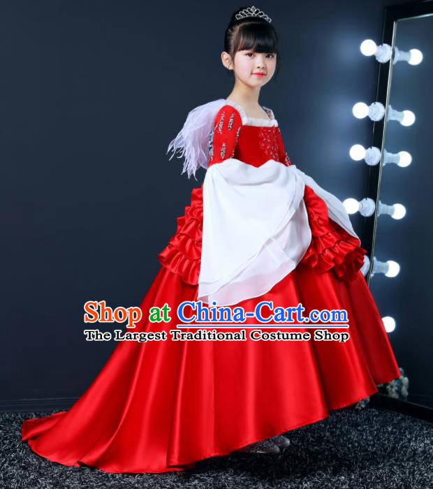 Top Grade Children Day Dance Performance Red Satin Dress Kindergarten Girl Stage Show Costume for Kids