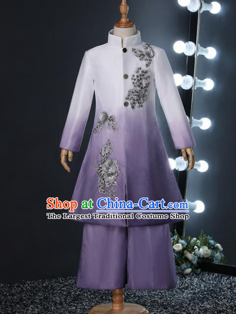 Chinese Children Day Classical Dance Performance Purple Outfits Kindergarten Boys Stage Show Costume for Kids
