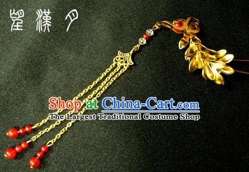 Chinese Ancient Court Queen Phoenix Tassel Hairpins Traditional Classical Hanfu Hair Accessories for Women